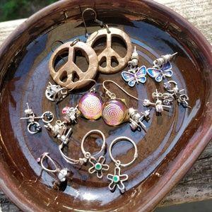 🍥☮️Dichroic Hippie/Flower Power Earring Bundle